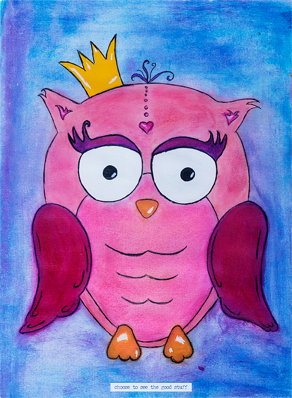 Pink hand drawn and painted owl