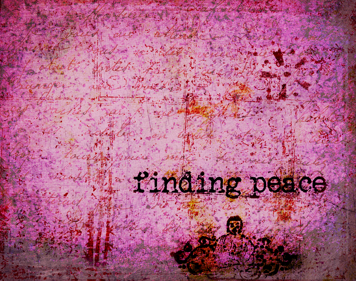 "Pink background with the stamped words ""finding peace"""