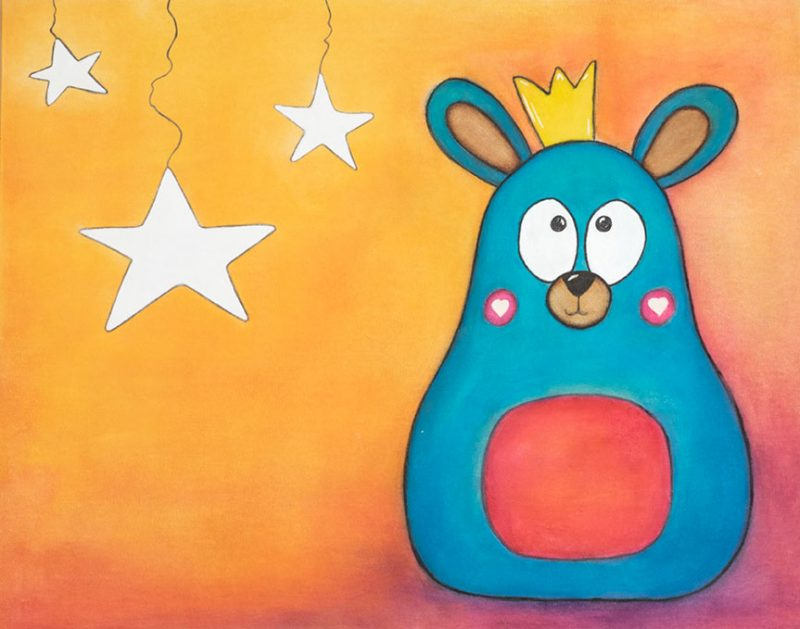 Image of a bear with a crown on an orange background with white stars