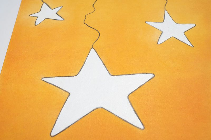 White stars on an orange background