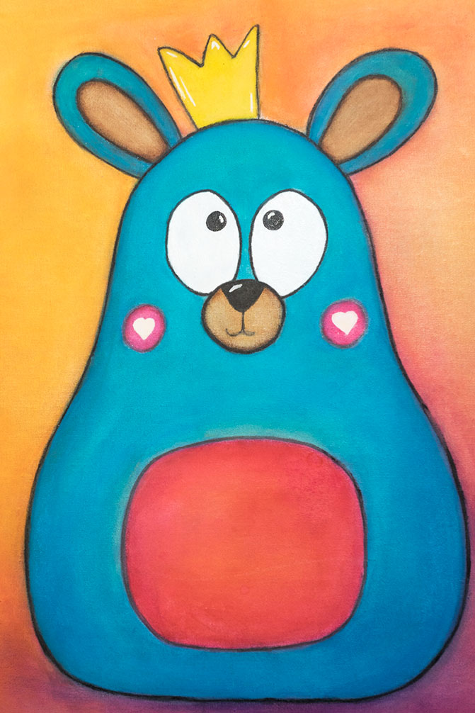Image of blue bear on orange background
